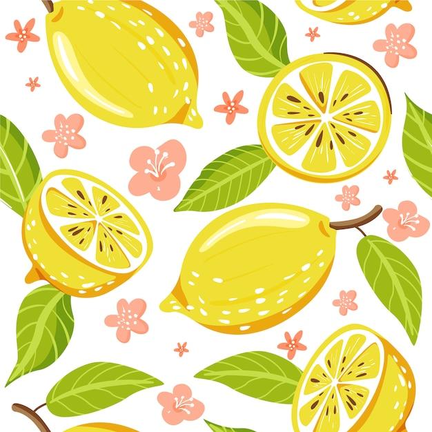 新鮮なレモンフルーツとのシームレスなファッションパターン Premiumベクター