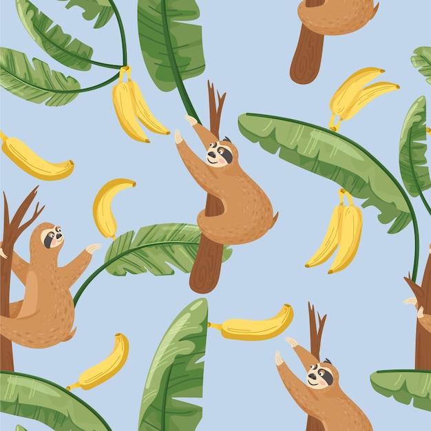 Безшовная картина с милыми ленивцами и банановым листом Premium векторы
