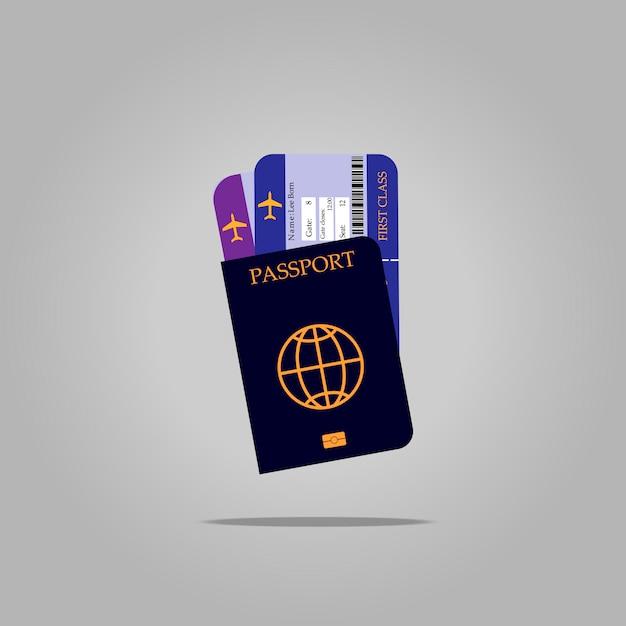国際パスポートと飛行機のチケット Premiumベクター