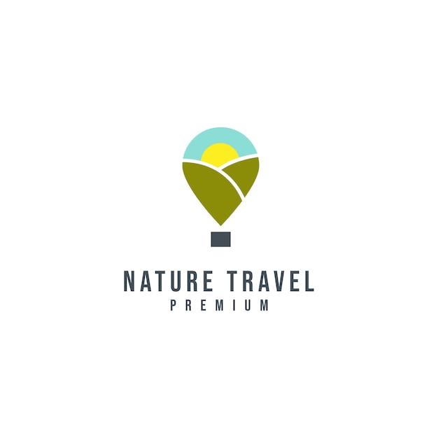 自然旅行のロゴのテンプレート Premiumベクター
