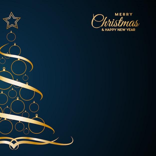 青のテキストで、抽象的なカバーゴールデンクリスマスツリー Premiumベクター