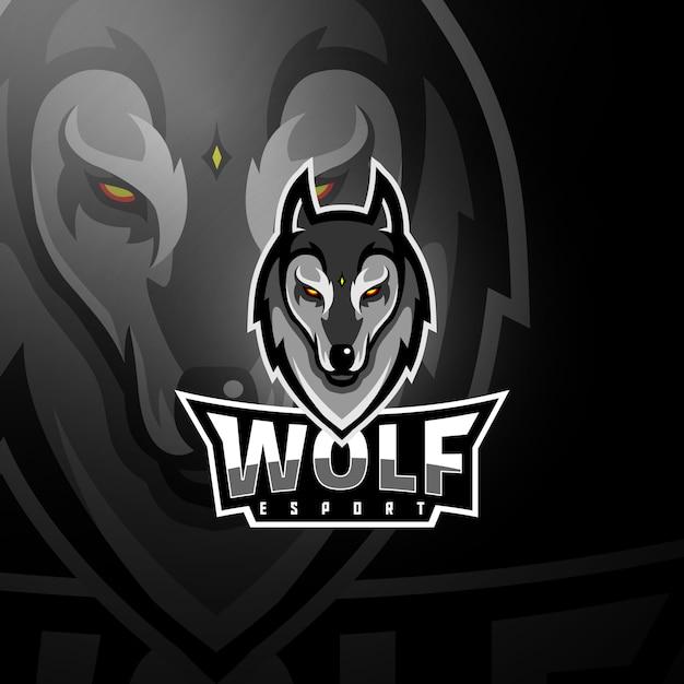 Логотип серой волчьей головы Premium векторы