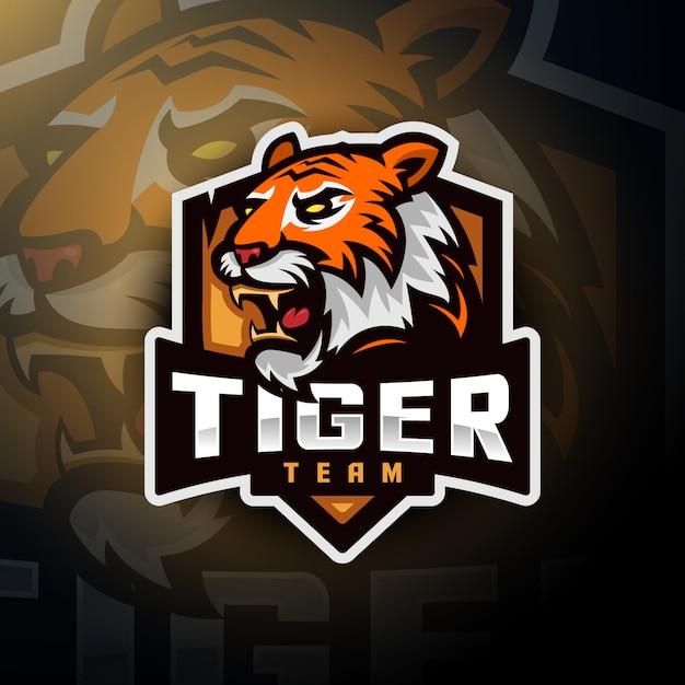Логотип тигровой головы Premium векторы