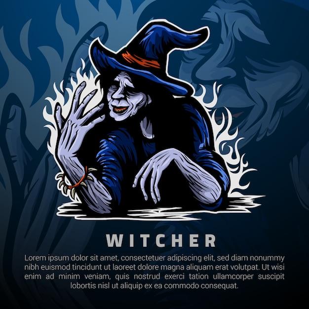 Ведьмак и власть в руках логотипа шаблона Premium векторы