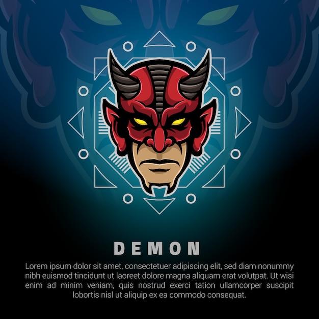 悪魔の頭のロゴのテンプレート Premiumベクター