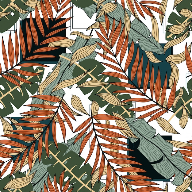 Абстрактный тропический бесшовный узор с разноцветными листьями и растениями Premium векторы