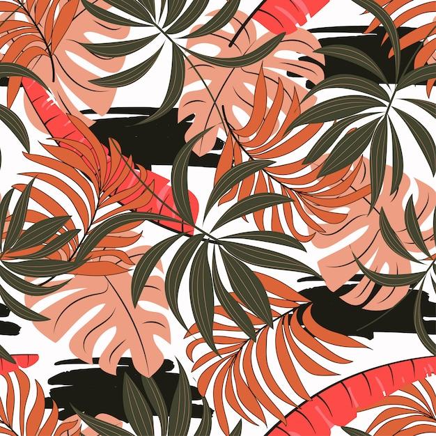 Летний бесшовные тропический узор с ярко-розовыми и белыми листьями и растениями Premium векторы