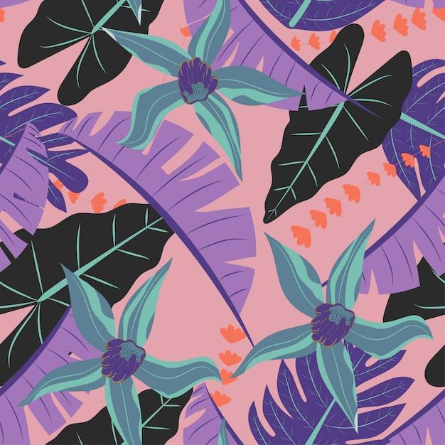 サンゴの色の熱帯植物とのシームレスなパターン Premiumベクター