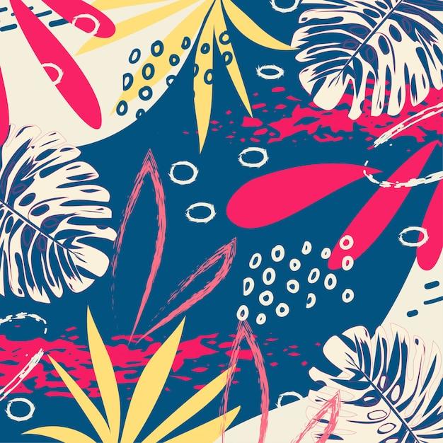 明るい葉と青い背景上の植物でトレンディな熱帯の抽象的なパターン Premiumベクター