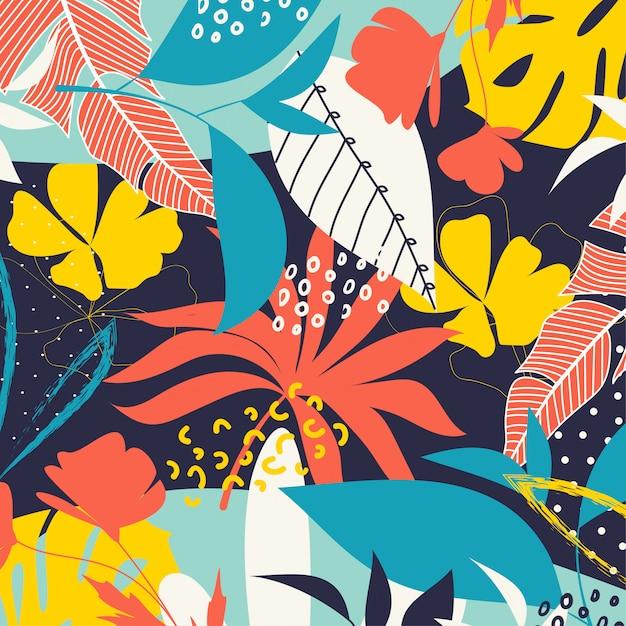 明るい熱帯の葉と植物のトレンドの抽象的な背景 Premiumベクター