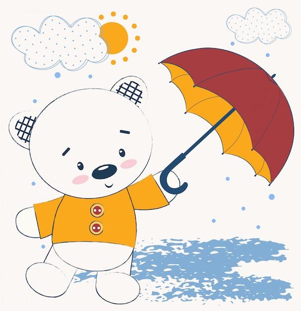 傘とかわいいテディベア Premiumベクター