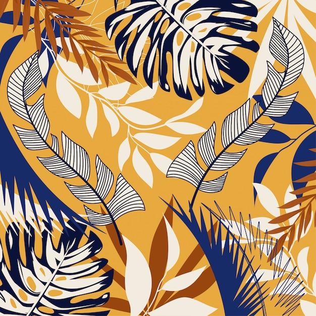 明るい熱帯の葉と黄色の植物の抽象的な背景をトレンドします。 Premiumベクター