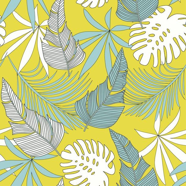 カラフルな熱帯の葉と緑の植物とのシームレスなパターン Premiumベクター