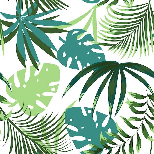 カラフルな熱帯の葉と繊細な背景の上の植物で夏の明るいシームレスパターン Premiumベクター