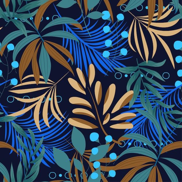 カラフルな熱帯の葉と暗い背景に植物の夏の明るいシームレスパターン Premiumベクター