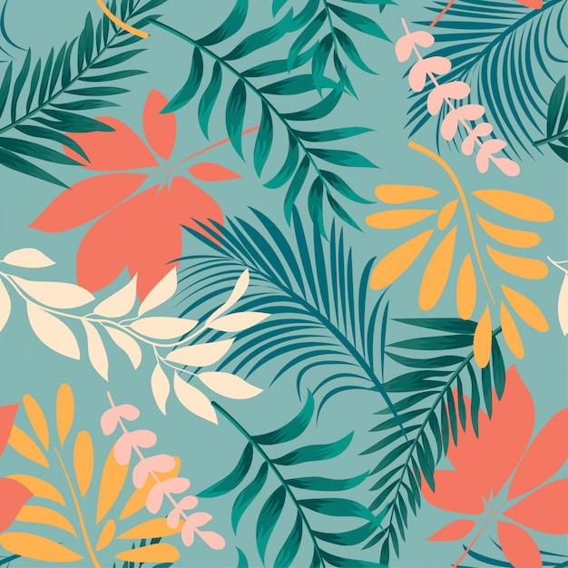 カラフルな熱帯の葉と植物の抽象的な明るいシームレスパターン Premiumベクター