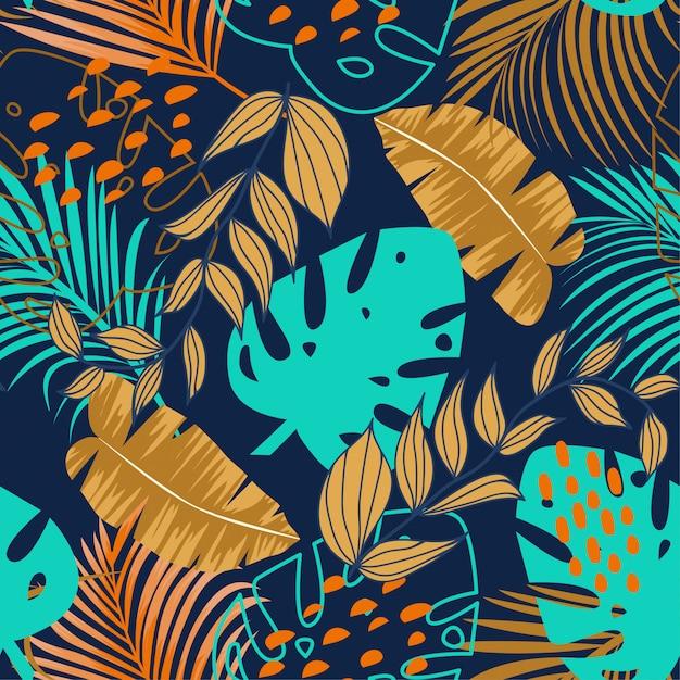 カラフルな熱帯の葉と紫の植物トレンドシームレスパターン Premiumベクター