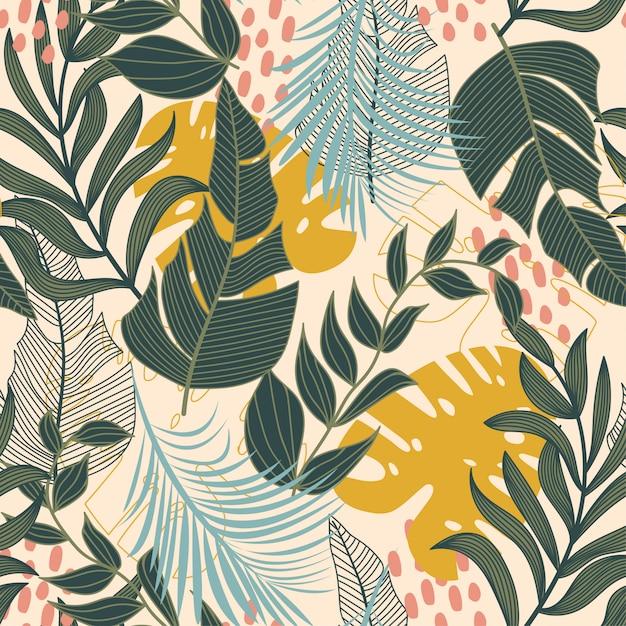 Летний абстрактный бесшовные модели с разноцветными тропическими листьями и растениями на бежевом Premium векторы