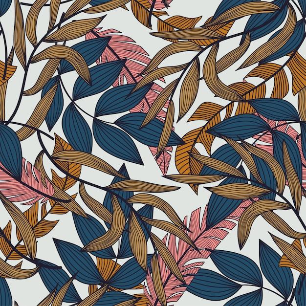 カラフルな熱帯の葉と白い背景の植物夏の抽象的なシームレスパターン Premiumベクター