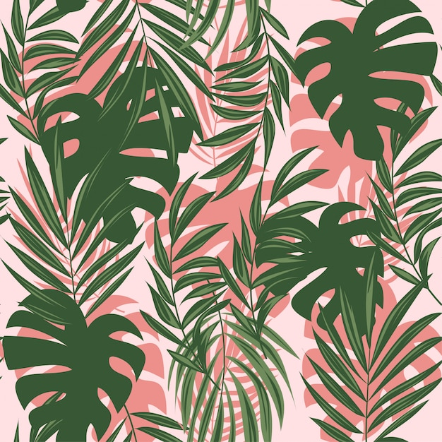カラフルな熱帯の葉と繊細な背景の植物の夏抽象的なシームレスパターン Premiumベクター