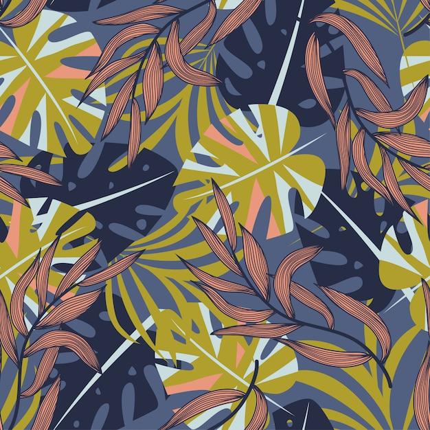 カラフルな熱帯の葉と紫色の背景に植物の夏抽象的なシームレスパターン Premiumベクター