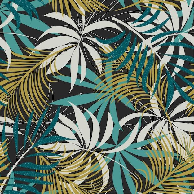 Оригинальный абстрактный бесшовные модели с разноцветными тропическими листьями и растениями на коричневом Premium векторы
