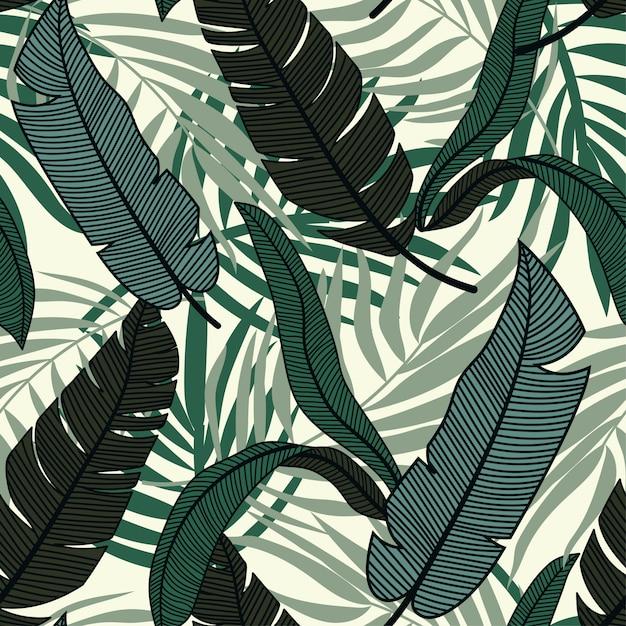 カラフルな熱帯の葉と光の植物の元の抽象的なシームレスパターン Premiumベクター