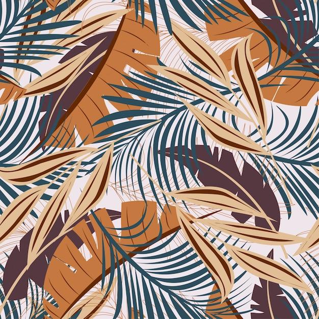 Летний абстрактный бесшовные модели с разноцветными тропическими листьями и растениями Premium векторы