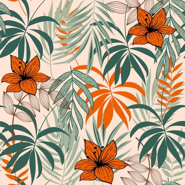 カラフルな熱帯の葉と植物の抽象的なシームレスパターン Premiumベクター