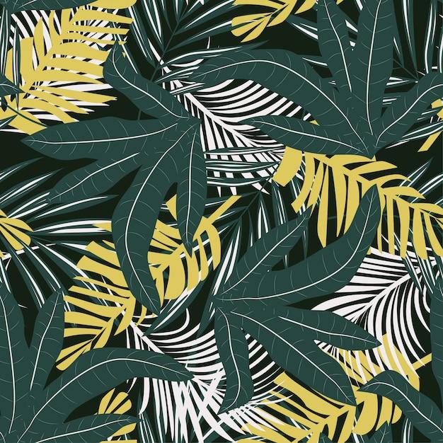明るい熱帯の葉と植物のトレンドのシームレスパターン Premiumベクター