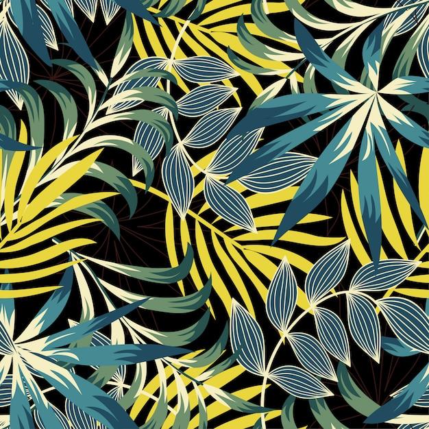 Оригинальный тренд бесшовные модели с яркими тропическими листьями и растениями Premium векторы