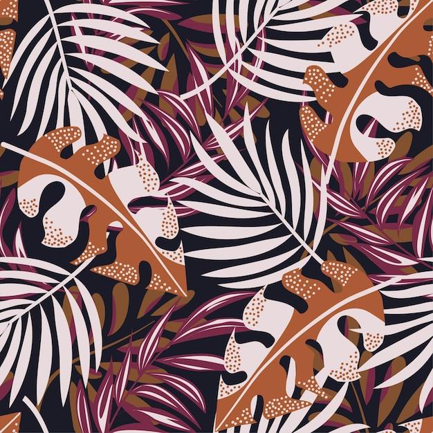 カラフルな熱帯の葉と黒い背景に植物の元の抽象的なシームレスパターン Premiumベクター