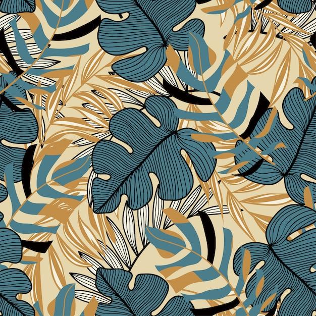 Тенденции абстрактный бесшовные модели с разноцветными тропическими листьями и растениями на желтом фоне Premium векторы
