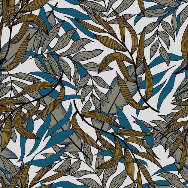 Летний бесшовный образец с синими тропическими растениями и листьями. бесшовная векторная текстура Premium векторы