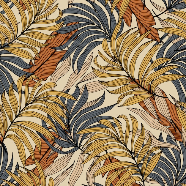 熱帯の葉と植物のシームレスなパターン。シームレスなベクターテクスチャ Premiumベクター