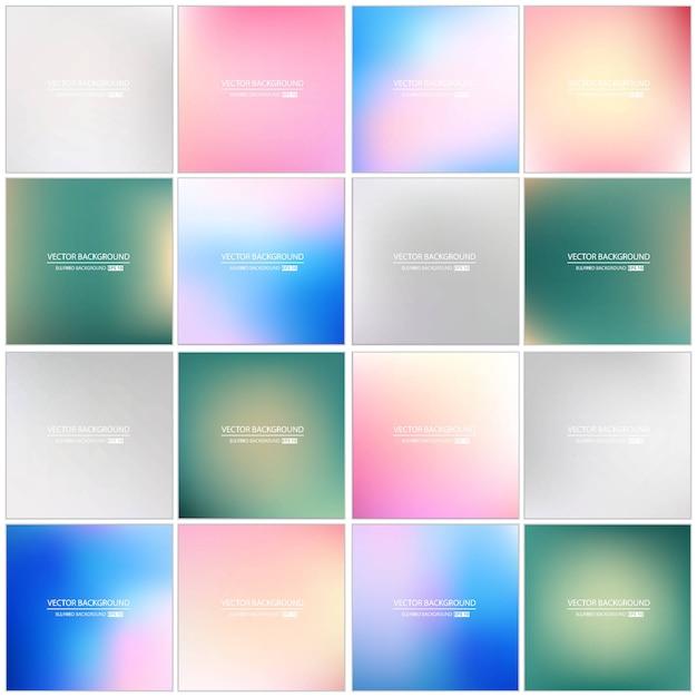 色とりどりの背景をぼかした写真を設定します。 Premiumベクター