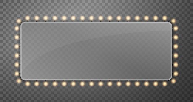 Блеск струнных лампочек баннер рекламный щит огни. Premium векторы