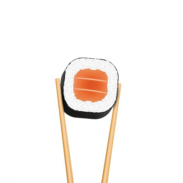 寿司サーモンの駒を保持している箸ロール。 Premiumベクター