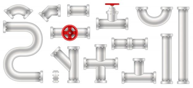 Пластиковая вода, нефть, газопровод, трубы канализации. Premium векторы