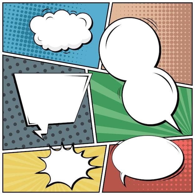 コミックポップアートスタイルの空白の背景。 Premiumベクター
