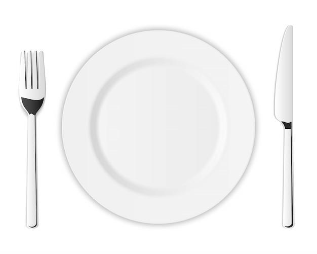 銀の台所フォーク、スプーン、ナイフのカトラリーセット。 Premiumベクター