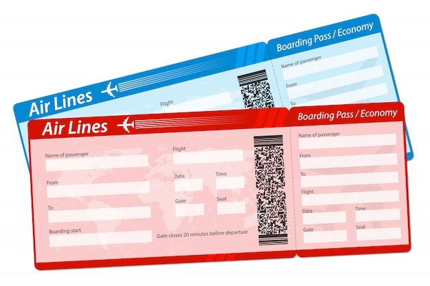 Билет на посадочный талон на самолет. Premium векторы