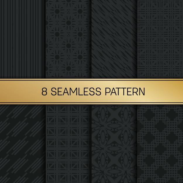 Монохромный геометрический рисунок набор. Premium векторы