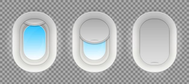 Бой самолет окна, пустые иллюминаторы самолета. Premium векторы