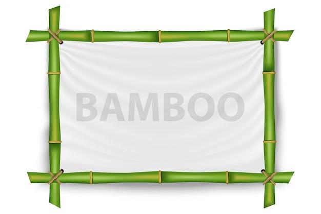 竹の茎フレーム、空白のモックアップテンプレート。 Premiumベクター