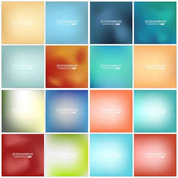 Набор разноцветных размытый фон. Premium векторы