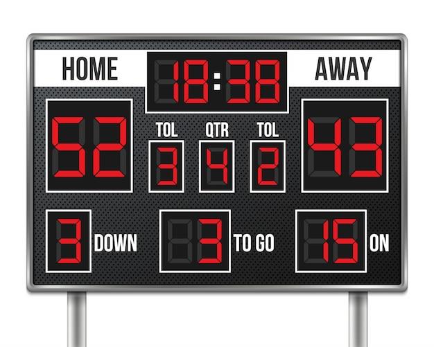 アメリカンフットボールのスコアボード Premiumベクター