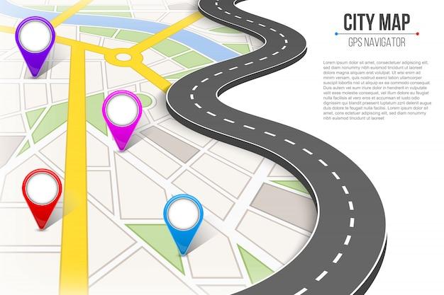 都市通り道路インフォグラフィックナビゲーションをマップします。 Premiumベクター