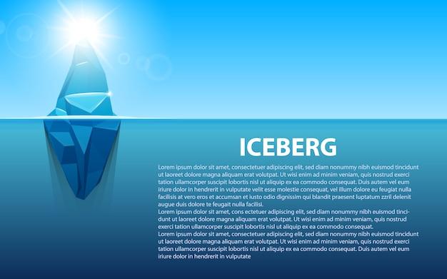 水の南極海の氷山の下。 Premiumベクター