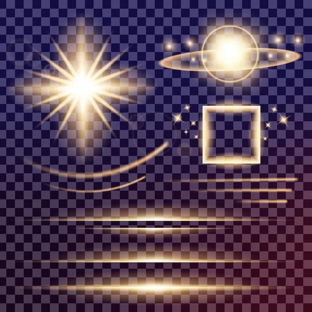 グローライト効果の星は輝きで破裂します。 Premiumベクター